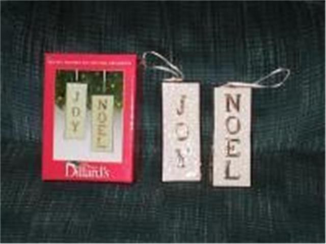 Joy, Noel Double Sided Ornament Filigree White Gold Pair from Dillards