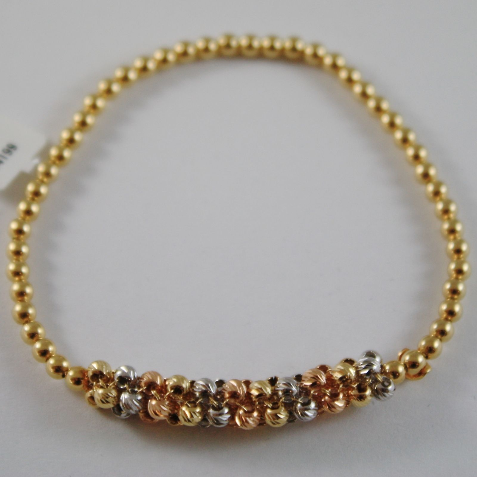 SOLID 18K YELLOW, ROSE & WHITE GOLD BRACELET WITH FACETED BALLS MADE IN ITALY