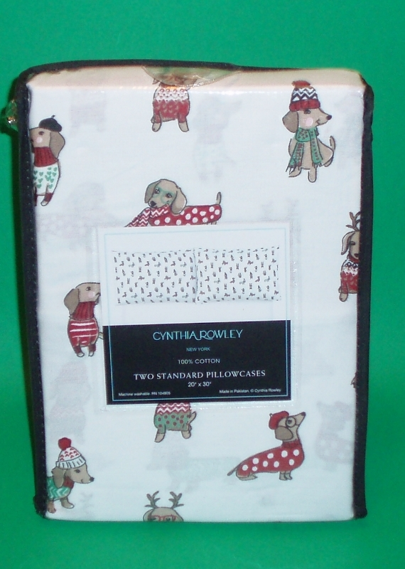 Primary image for Set of 2 Winter Dachshund Christmas Holiday Cotton Standard Pillowcases