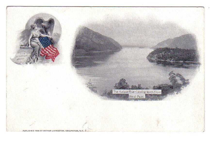 Vintage Patriotic Postcard Souvenir Livingston Hudson