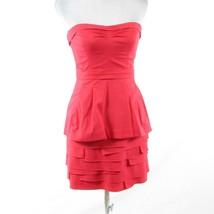 Light red cotton blend BCBG MAX AZRIA strapless tiered dress 4 - $44.99