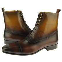 Carrucci Lace-Up Zip Boot, Leather Men's Ankle Boots, Brown - $126.00