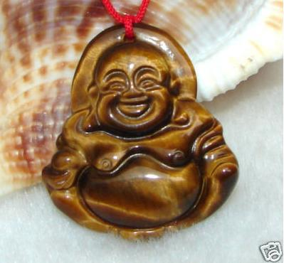 Tiger's Eye Gemstone Buddha Amulet Pendant Talisman