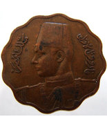 1943 EGYPT FAROUK COIN Vintage over 65 years old King Farouk 10 Mils Bro... - $14.99