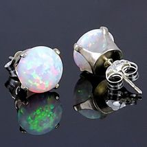 1.3ct Fiery Australian White Opal Crown Set Stud Earrings 925 Sterling Silver - $23.00