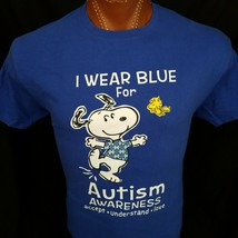 Autism Snoopy I Wear Blue For Autism Woodstock Blue Graphic T Shirt All ... - $23.10