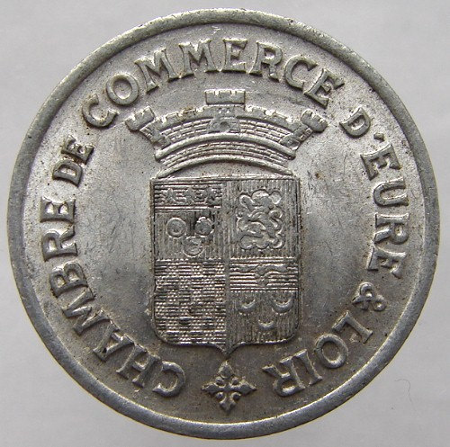1922 FRANCE CONSOMMER TOKEN Chamber of Commerce 25 Centimes jeton Old French tok