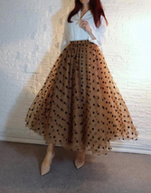 Full Long Tulle Skirt High Waisted Polka Dot Tulle Skirt Outfit Plus Size Puffy image 2