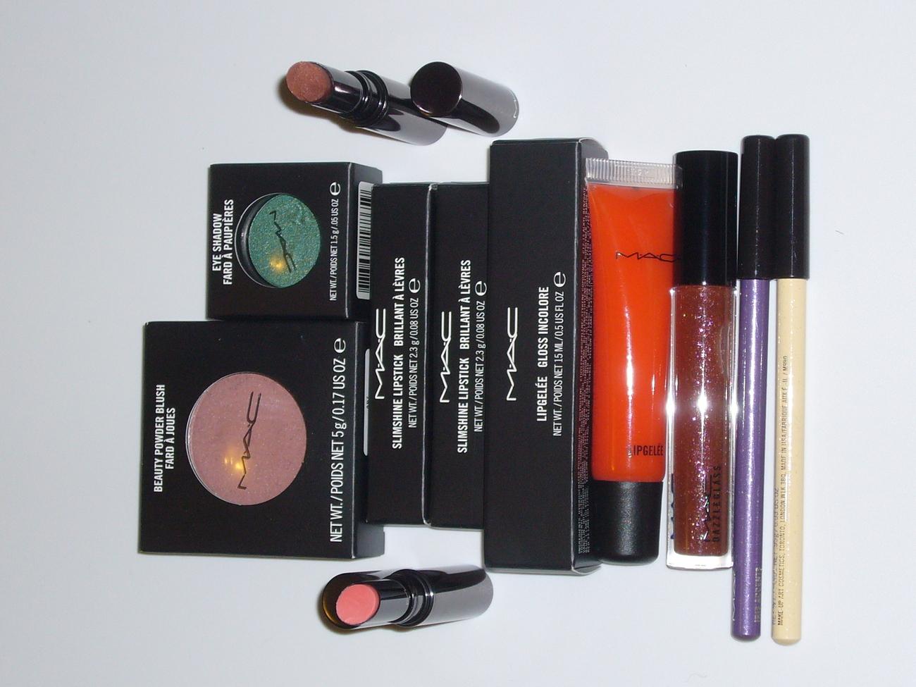 MAC Cosmetics 8 PC Lipstick Blush Eye Liner Shadow Gloss Set Bonanza