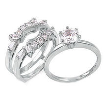 2.0ct Ice on Fire Simulated Diamond Wedding Set with Ring Guard 925 Silv... - $69.95