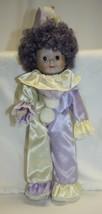 """15"""" Clown Porcelain Head Hands Purple Hair Lavender / Cream Suit - $19.79"""