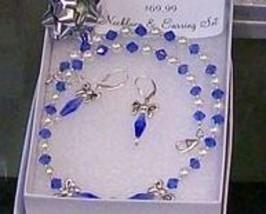 Sterling Swarovski Crystal and Swarovski Pearl Bow Necklace Earring Set ... - $61.99
