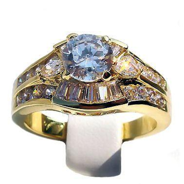 2.2c Russian Ice CZ Stacked 3 Band Bridal Ring Set s 8