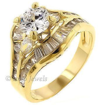 2.2c Russian Ice CZ Stacked 3 Band Bridal Ring Set s 9