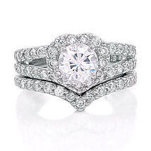 2.44ct Heart-Shaped Russian Ice CZ Wedding Ring Set s 7 - $66.00