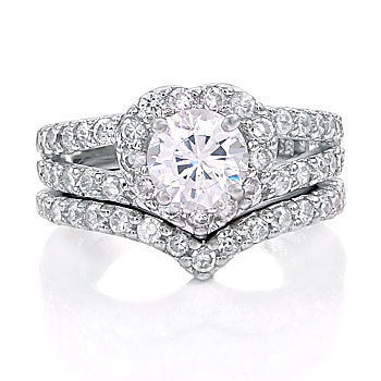 2.44ct Heart-Shaped Russian Ice CZ Wedding Ring Set s 8