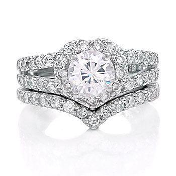 2.44ct Heart-Shaped Russian Ice CZ Wedding Ring Set s 9