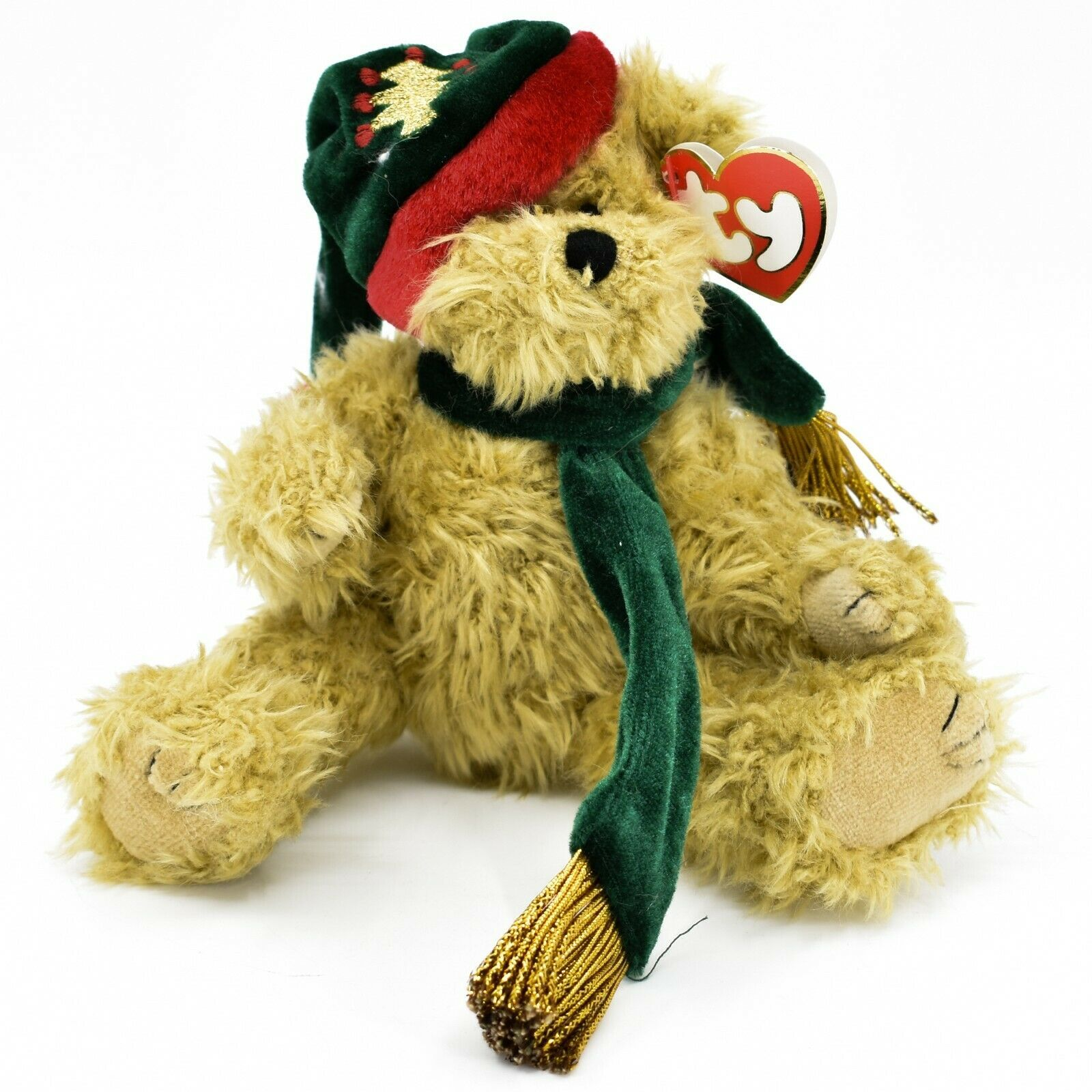 1993 Ty Attic Treasures Spruce Holiday Christmas Teddy Bear Beanbag Plush Toy