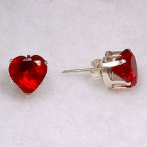 2.5 cts Heart Cut Red Fire Garnet Ice CZ 7mm Stud Earrings 925 Sterling ... - $14.00