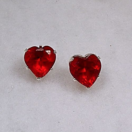 2.5 cts Heart Cut Red Fire Garnet Ice CZ 7mm Stud Earrings 925 Sterling Silver