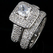 2.55ct Micro-pave Russian Ice CZ Wedding Ring Set s 7 - $81.00