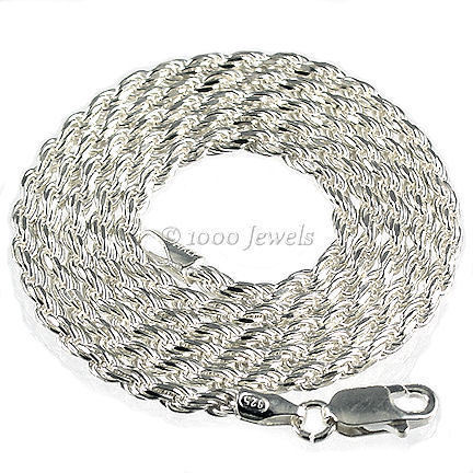2.5mm Ital Diamond-cut Triple Rope Chain 925 Silver 16