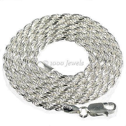 2.5mm Ital Diamond-cut Triple Rope Chain 925 Silver 18