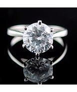 2.9 carat Russian Ice on Fire CZ 9mm Solitaire Engagement Ring 925 Silve... - $23.99
