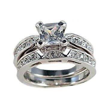 2c Princess Cut Russian Ice CZ Wedding Rings Set sz 6