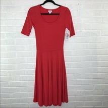 New LuLaRoe XSmall XS Nicole Ringer Dress Coral Pink Short Sleeve Pleate... - $32.45