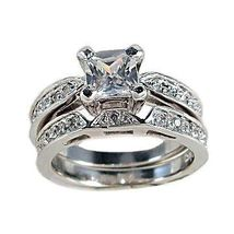 2c Princess Cut Russian Ice CZ Wedding Rings Set sz 9 - $63.00