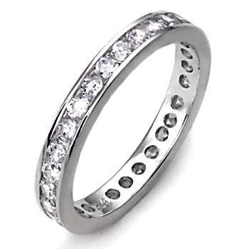 2mm Russian Ice CZ Brilliant Cut Eternity Band Ring s 5