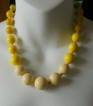"Signed Monet Yellow Bead Shades Graduated Necklace 18"" Long - $16.82"