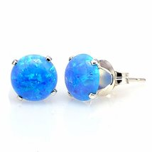 3.2ct Azure Blue Australian Opal Cab Crown Set Stud Earrings 8mm 925 Silver - $31.00