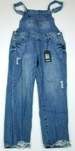 Kensie Jeans Denim Overalls Distressed Blue Womens Size 10 34x27 $68 NEW - $43.30
