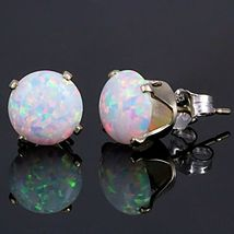 3.2ct Fiery Australian White Opal Crown Set Stud Earrings 925 Sterling Silver - $31.00