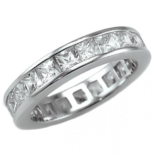 3.85c Russian Ice CZ Princess Cut Eternity Band Ring 6