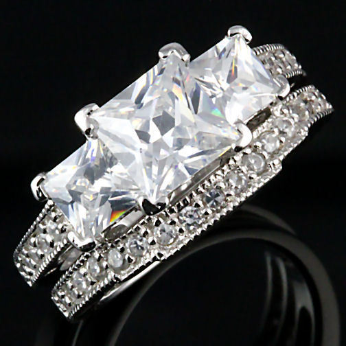 3.9ct Princess Cut PPF Russian CZ Wedding Ring Set s 6