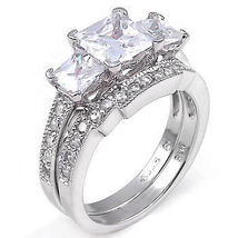 3.9ct Princess Cut Russian Ice CZ Wedding Ring Set s 7 - $65.00