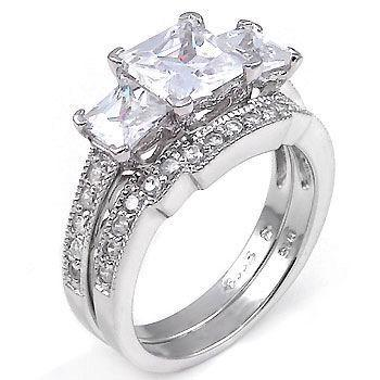 3.9ct Princess Cut Russian Ice CZ Wedding Ring Set s 8