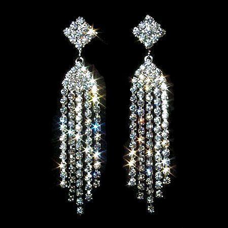"3"" Cascading Waterfall Crystal Rhinestone Post Earrings"