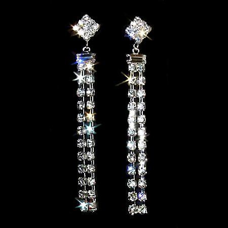 "3"" Fine Lines 2 Row Duster Crystal Rhinestone Earrings"