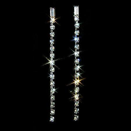 "3"" Fine Lines Baguette Top Crystal Rhinestone Earrings"