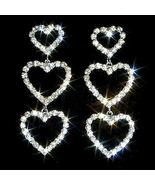 3 Heart Drop Swarovski Crystal Rhinestone Post Earrings - $17.00