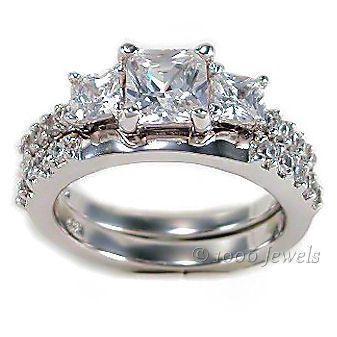 3 Stone PPF Princess Cut Russian Ice CZ Wedding Set s 6