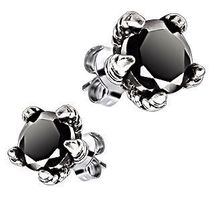 316L Steel Dragons Claw Stud Earrings 2.50 carats Black Ice on Fire CZ  - $17.00