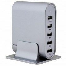 Trexonic 7.1 Amps 5 Port Universal USB Compact Charging Station in Silve... - $39.59