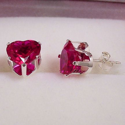 4.0ct Heart Cut 8mm created Burmese Ruby Stud Earrings