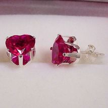 4.0ct Heart Cut 8mm created Burmese Ruby Stud Earrings - $15.00