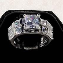 4.1c Princess Cut Russian Ice on Fire CZ 2 pc Wedding Ring Set 925 Silve... - $66.00